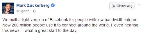 Tabletowo.pl Facebook Lite ma obecnie 200 milionów aktywnych użytkowników Aplikacje Ciekawostki Facebook Raporty/Statystyki Social Media