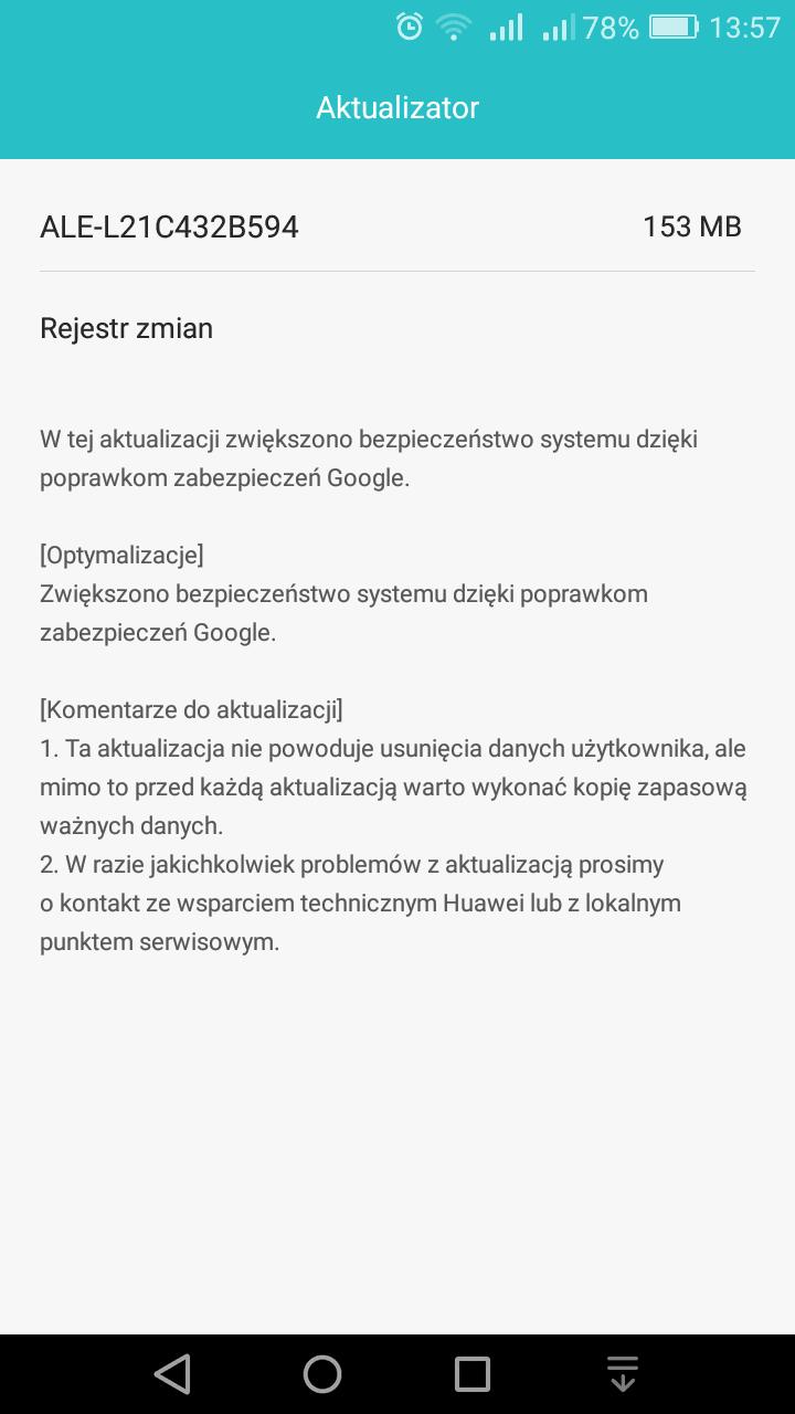 Tabletowo.pl Huawei P8 Lite dostaje marcowe poprawki zabezpieczeń Androida Aktualizacje Android Huawei Smartfony