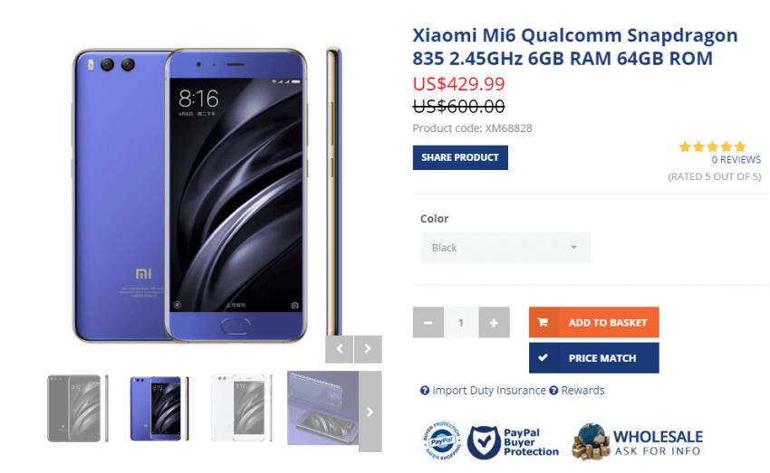 Tabletowo.pl Xiaomi Mi 6 pojawił się już w Oppomart. Cena - podejrzane 299 dolarów Nowości Smartfony Xiaomi