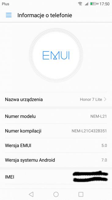 Tabletowo.pl Honor 7 Lite także z najnowszym Androidem i EMUI 5.0 Aktualizacje Huawei Oprogramowanie