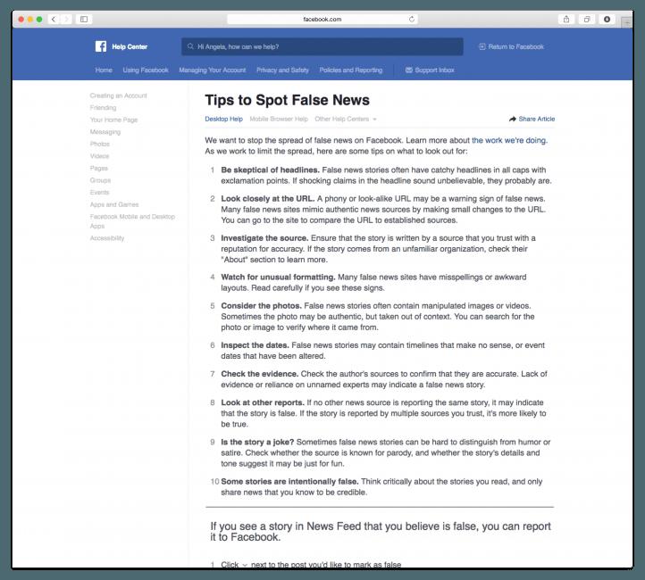 Wskazówki, jak uniknąć fake news - Facebook