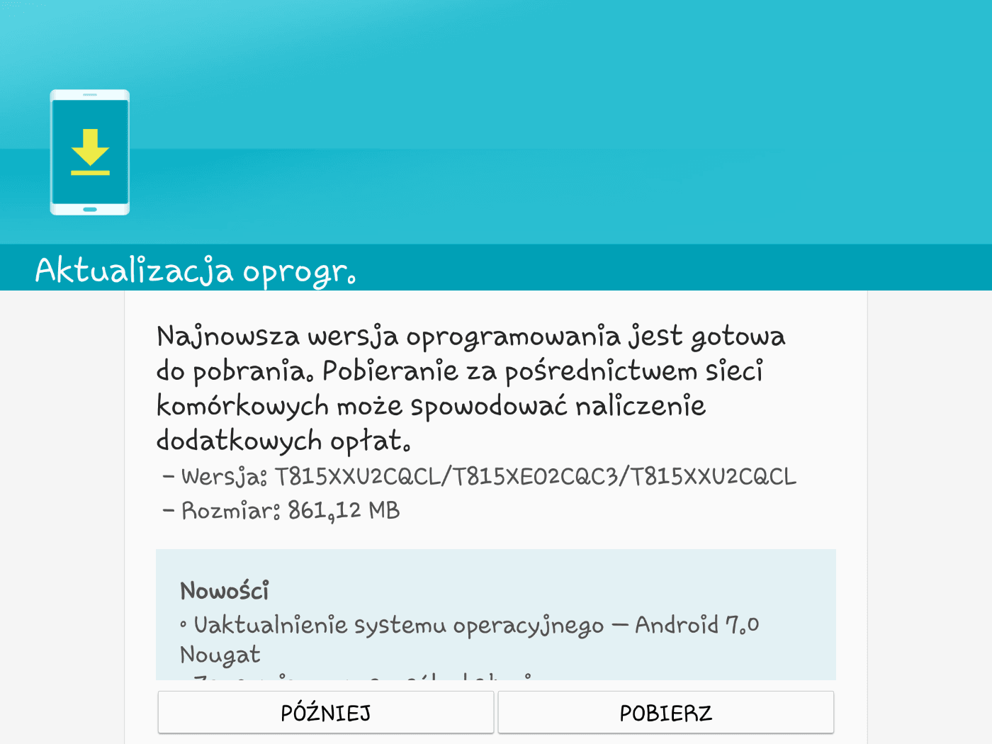 "Tabletowo.pl Samsung Galaxy Tab S2 9.7"" LTE (SM-T815) dostaje Androida 7.0 Nougat. W Polsce Aktualizacje Android Samsung Tablety"
