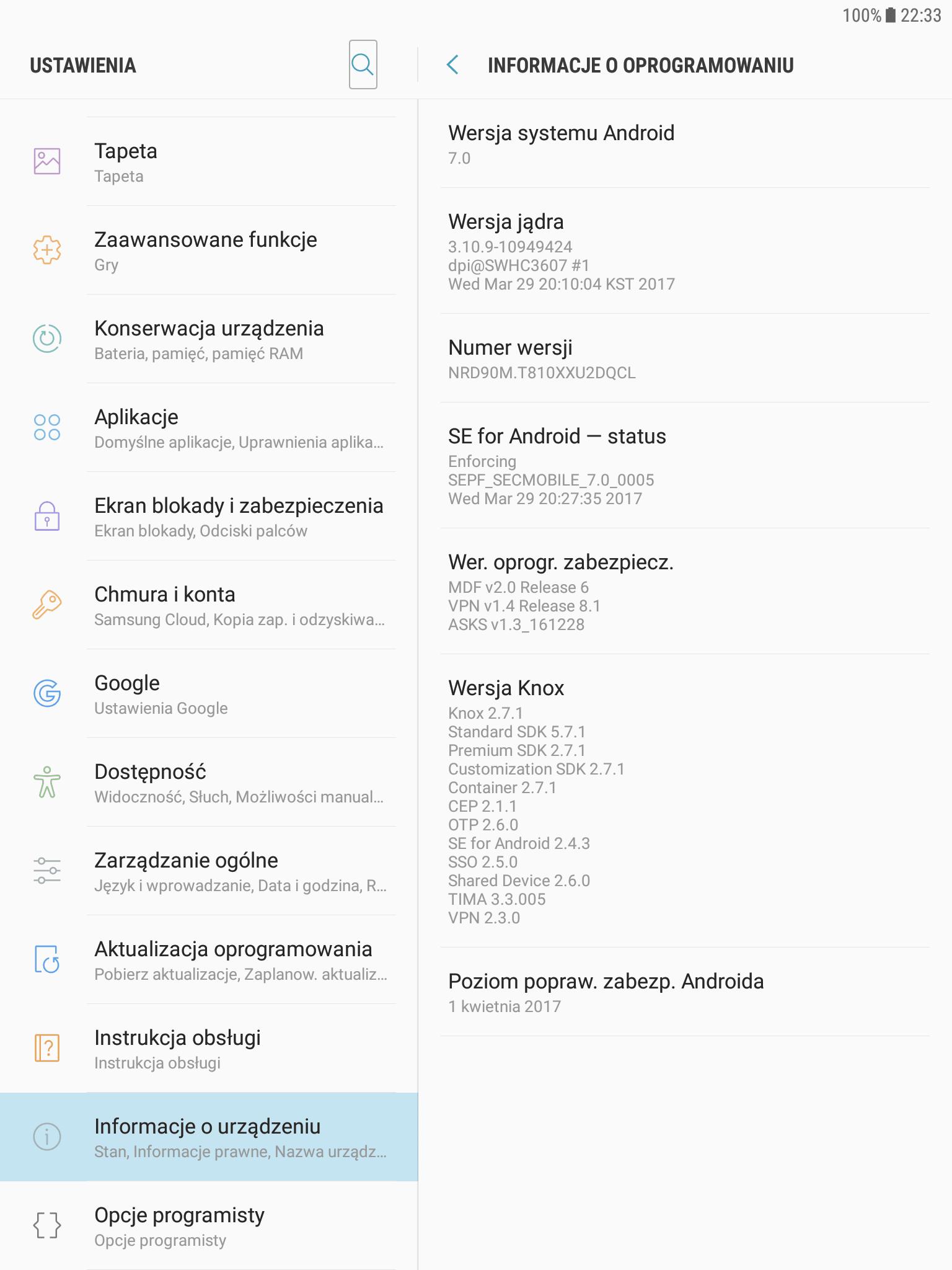 """Samsung Galaxy Tab S2 9.7"""" Wi-Fi (SM-T810) też dostał aktualizację do Androida 7.0 Nougat"""