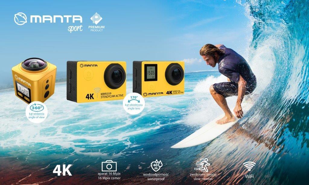 Manta zaprezentowała trzy nowe sportowe kamerki 4K, w tym jedną 360 stopni 22