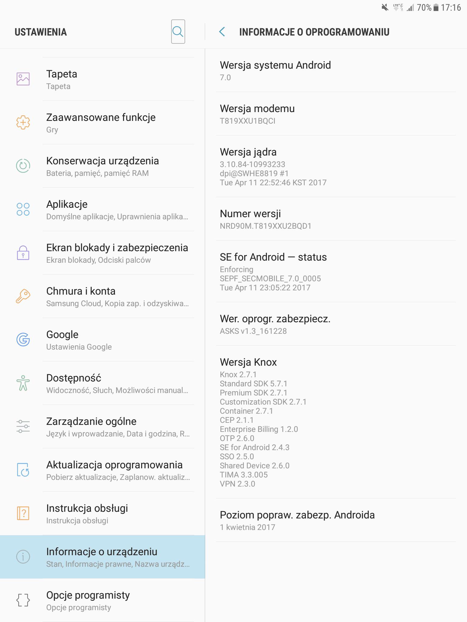 "Tabletowo.pl Samsung Galaxy Tab S2 9.7"" VE LTE (SM-T819) dostaje aktualizację do Androida 7.0 Nougat Aktualizacje Android Samsung Tablety"