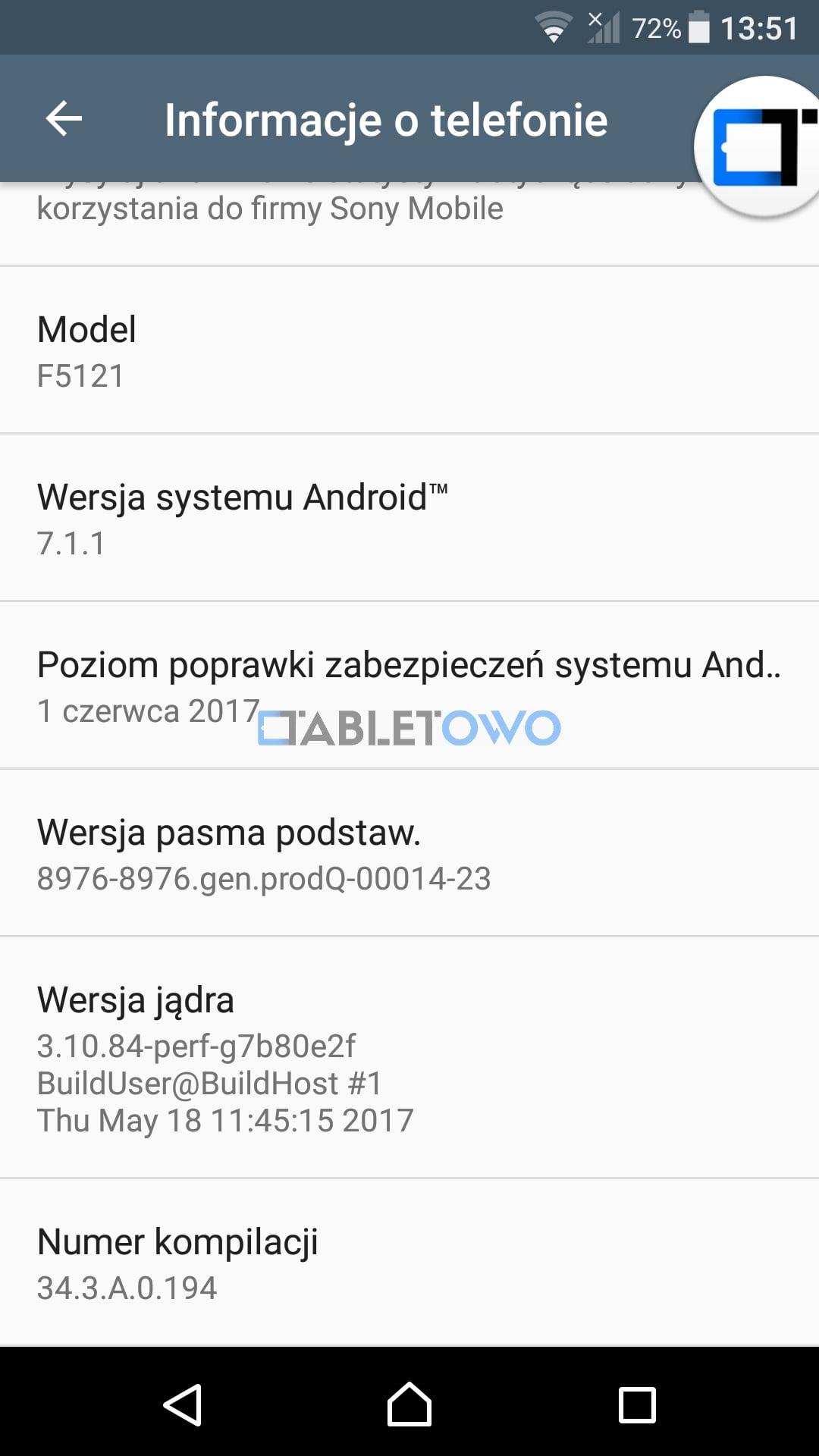 Tabletowo.pl Sony Xperia X z T-Mobile dostała właśnie aktualizację do Androida 7.1.1 Nougat Aktualizacje Android Smartfony Sony