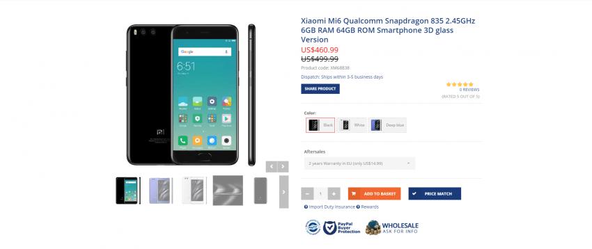 Gdzie najlepiej kupić Xiaomi Mi6? Prześwietlenie ofert chińskich sklepów internetowych 6