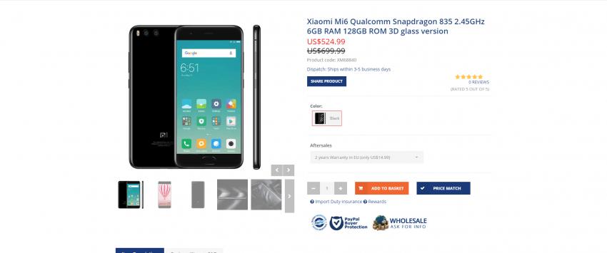Gdzie najlepiej kupić Xiaomi Mi6? Prześwietlenie ofert chińskich sklepów internetowych 7
