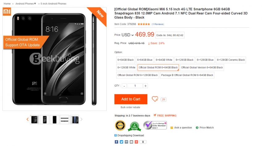 Gdzie najlepiej kupić Xiaomi Mi6? Prześwietlenie ofert chińskich sklepów internetowych 9