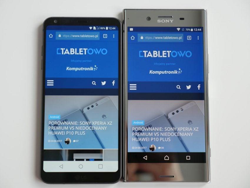 Porównanie: Sony Xperia XZ Premium vs LG G6 29