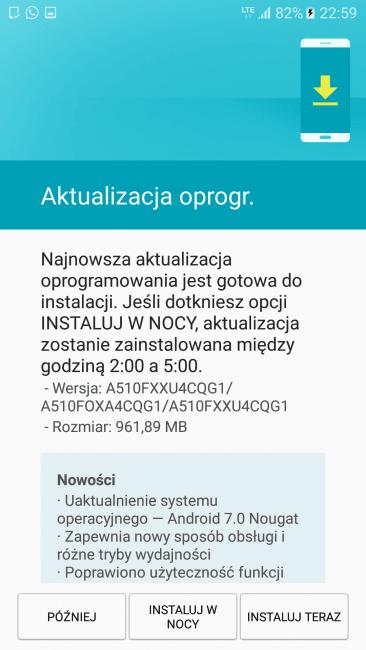 Tabletowo.pl Dobre wieści w poniedziałek: Samsung Galaxy A5 2016 z wolnej sprzedaży też dostaje Androida 7.0 Aktualizacje Android Oprogramowanie Samsung Smartfony