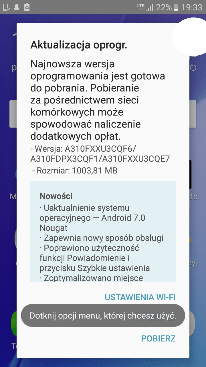 Tabletowo.pl Samsung Galaxy A3 2016 dostał aktualizację do Androida 7.0 Nougat Aktualizacje Android Samsung Smartfony