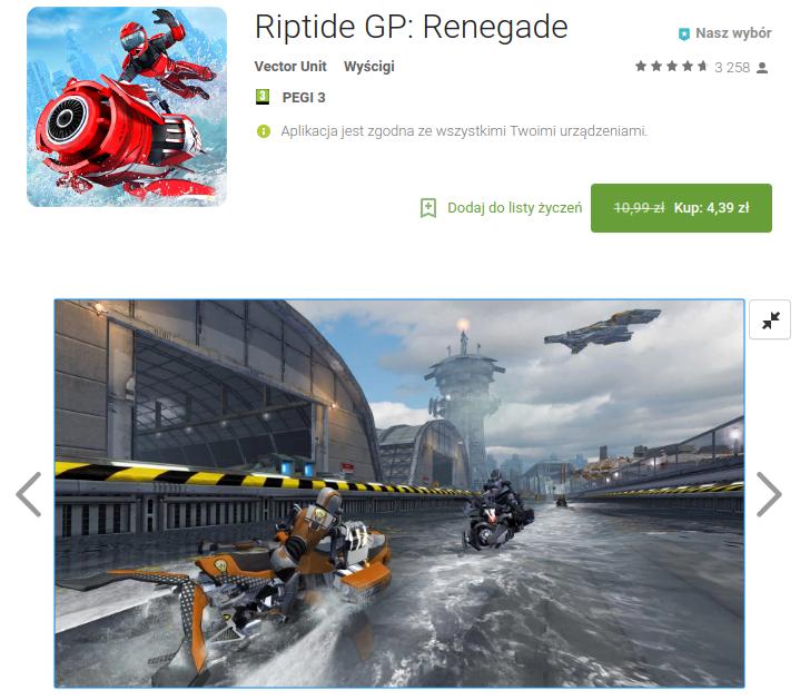 Tabletowo.pl Riptide GP2, czyli świetna i kultowa gra wyścigowa dostępna na Androida za darmo Aplikacje Promocje