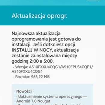 Tabletowo.pl Często pytaliście o tę aktualizację: Samsung Galaxy A5 2016 z sieci Plus dostaje Androida Nougat Aktualizacje Android Samsung
