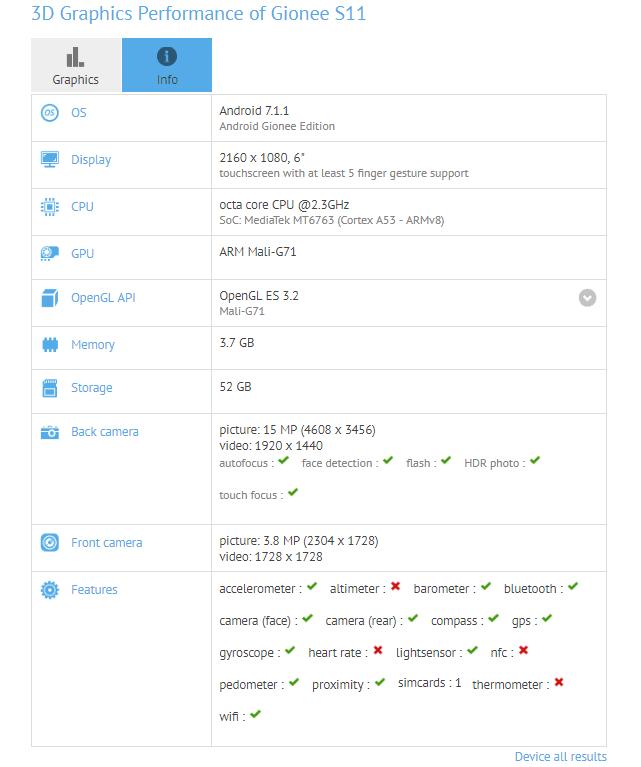 Tabletowo.pl Znamy specyfikację Gionee S11. Będzie miał 6-calowy ekran 18:9 i MediaTeka Helio P23 Android Chińskie Smartfony