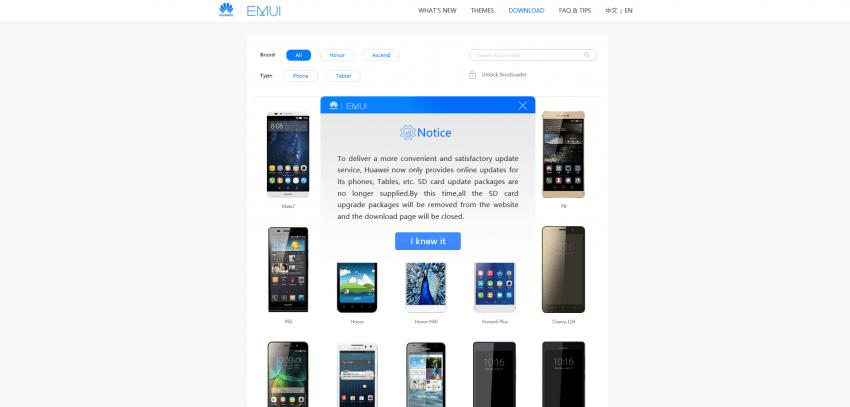 Tabletowo.pl Huawei usunął ze swojej strony wszystkie obrazy systemu EMUI Android Huawei Nowości Oprogramowanie