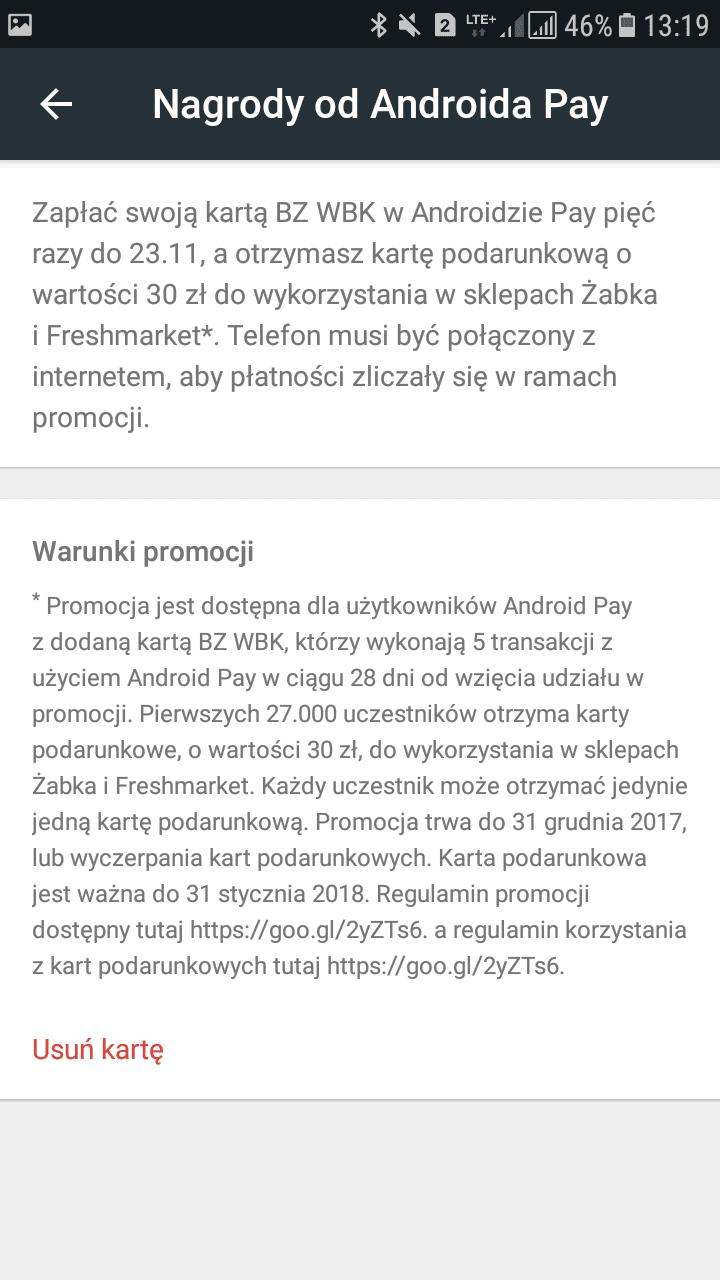 Tabletowo.pl Jak dostać bon o wartości 30 zł na zakupy w Żabce? Wystarczy być klientem BZ WBK i płacić Android Pay Android Google Promocje Smartfony