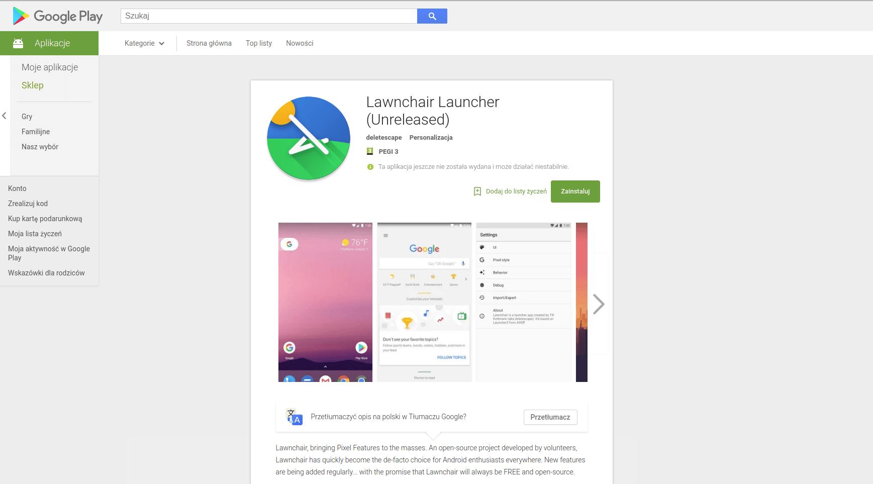 Tabletowo.pl W Sklepie Play znajdziecie kolejny, bardzo ciekawy launcher - Lawnchair Launcher Android Aplikacje Nowości
