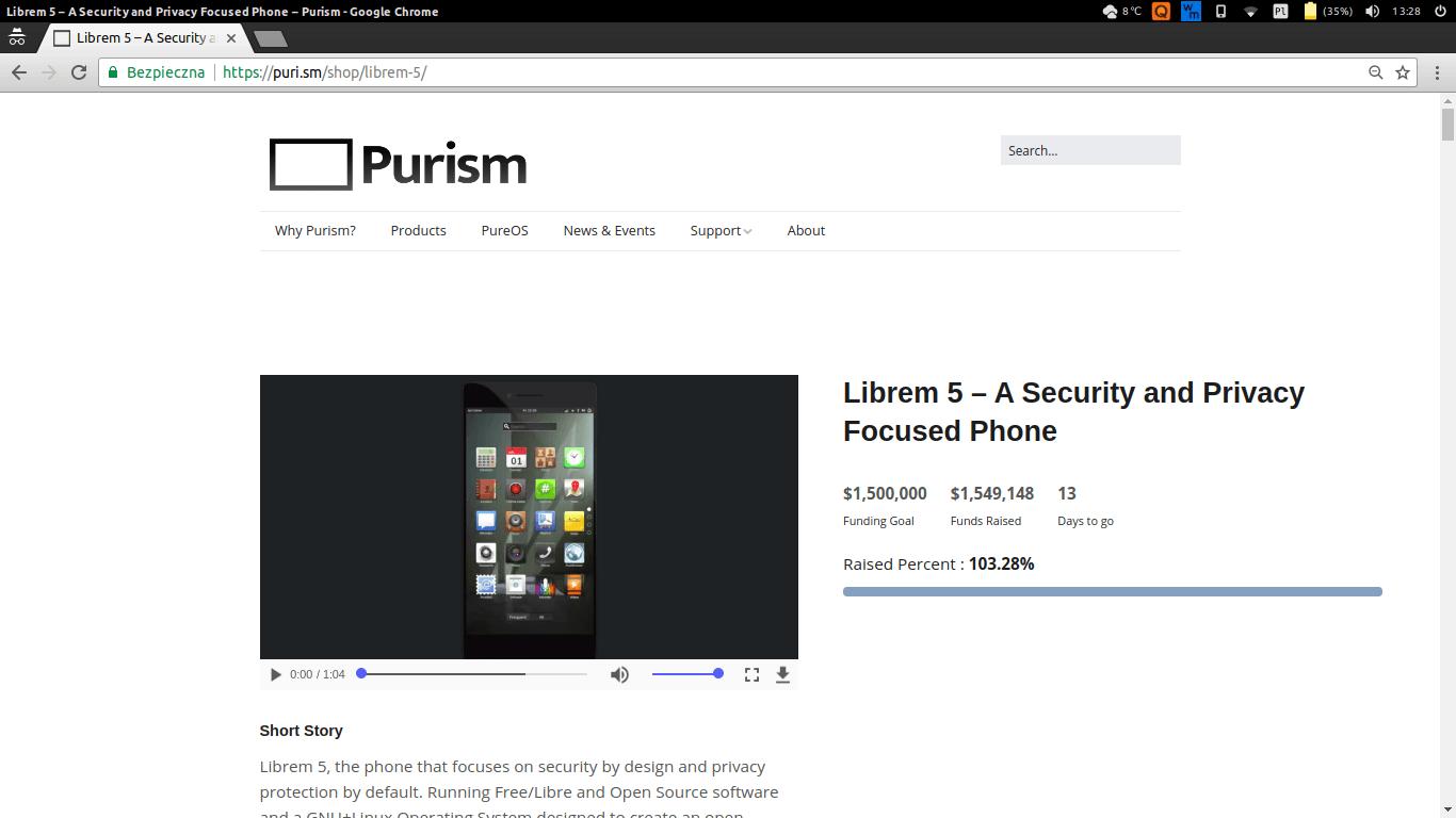 """Tabletowo.pl Sukces! Wymagana kwota do wyprodukowania smartfona z """"prawdziwym Linuxem"""" została zebrana Linux Smartfony"""