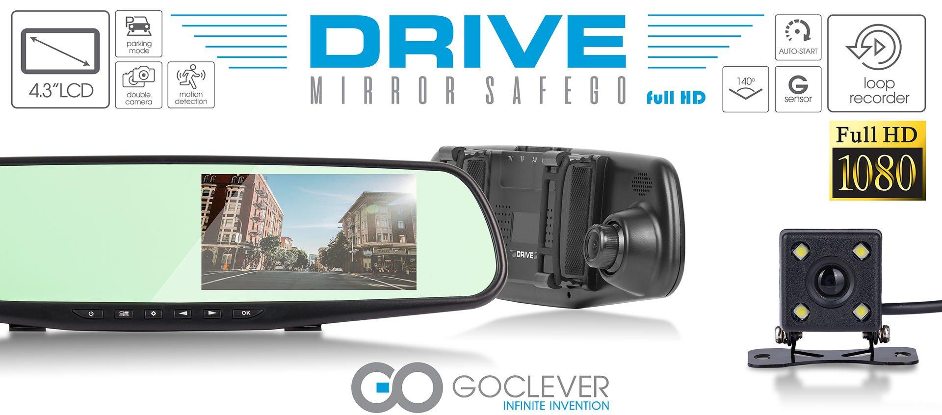 Goclever Drive Mirror Safego to nie tylko lusterko wsteczne, ale też wideorejestrator i kamera cofania