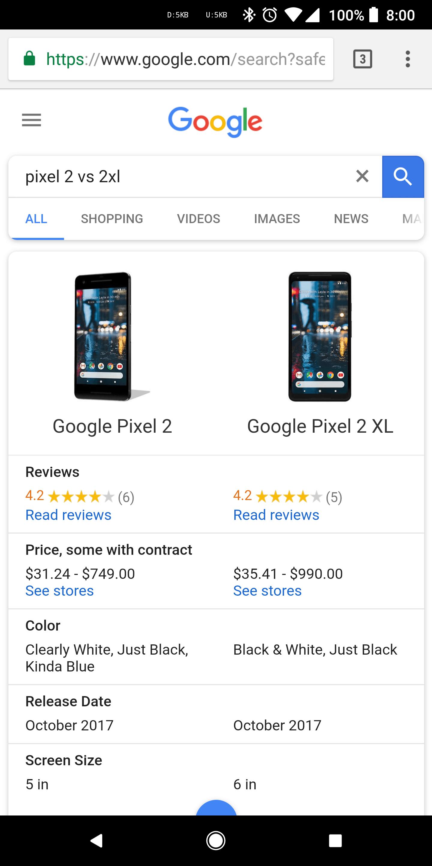 Tabletowo.pl Nowa funkcja w przeglądarce Google: porównywanie specyfikacji urządzeń Google Nowości