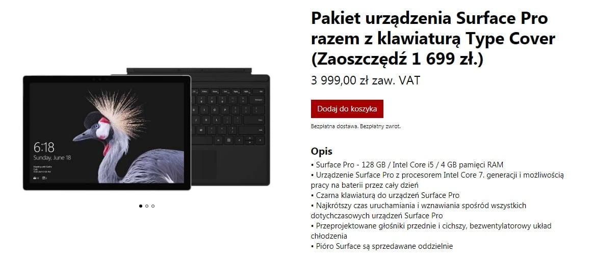 Tabletowo.pl W Czarny Piątek kupisz m.in. Surface Pro z Intel Core i5, 4 GB RAM, dyskiem 128 GB i klawiaturą taniej o ok. 1699 zł Hybrydy Microsoft Oprogramowanie Windows