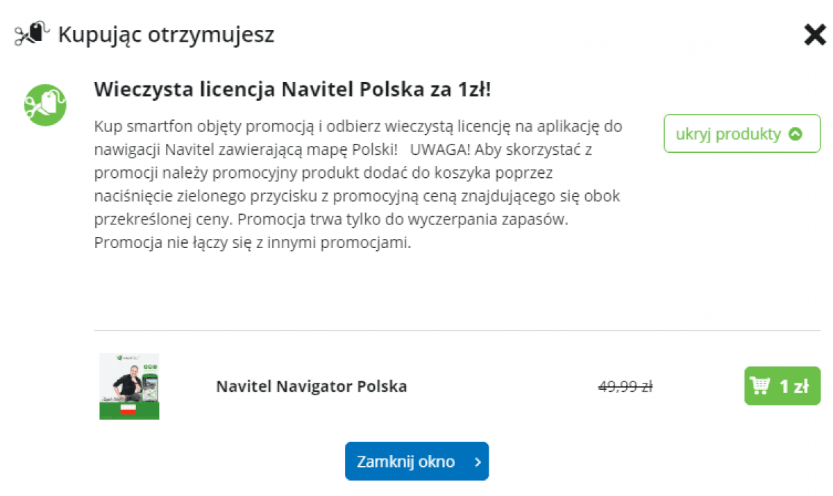 Tabletowo.pl Promocja: kup smartfon i dobierz za złotówkę wieczystą licencję NAVITEL Navigator Polska Android Aplikacje Promocje Smartfony Tablety Windows