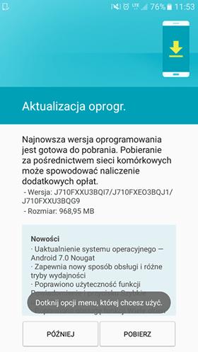 Tabletowo.pl Jest aktualizacja do Androida Nougat dla Samsunga Galaxy J7 2016 z wolnej sprzedaży Aktualizacje Samsung