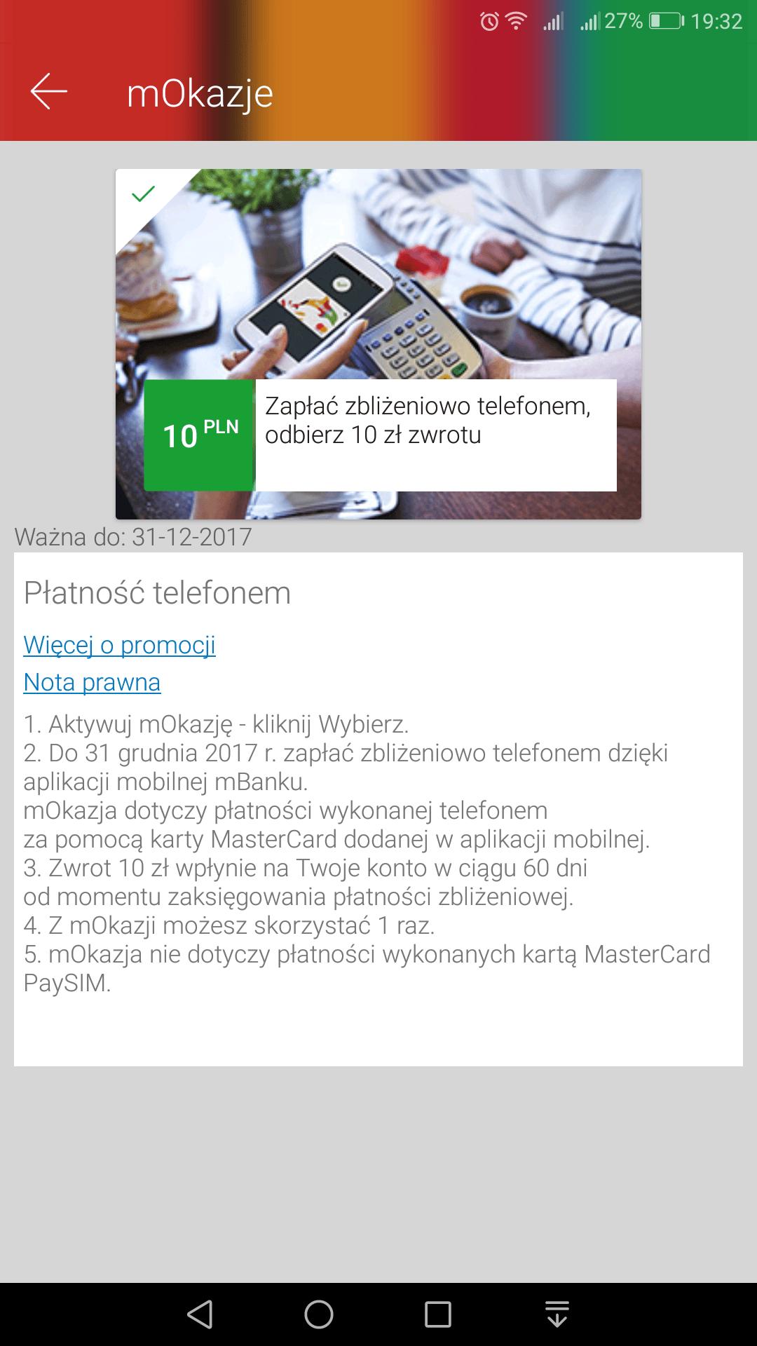 Tabletowo.pl Jesteś klientem mBanku? Zapłać smartfonem, a dostaniesz 10 złotych Android Promocje