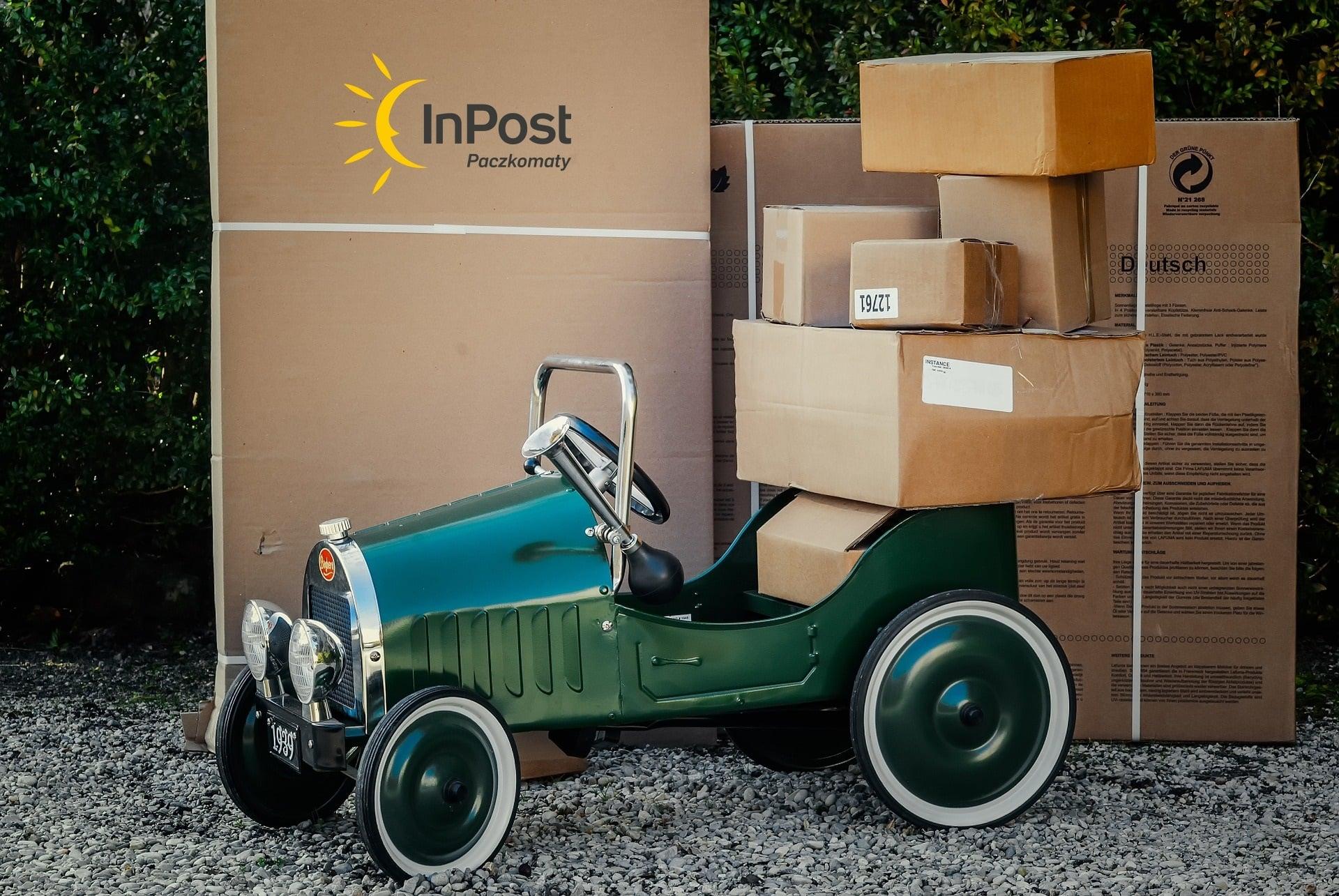 przesyłka kurier paczka samochód wóz InPost logo