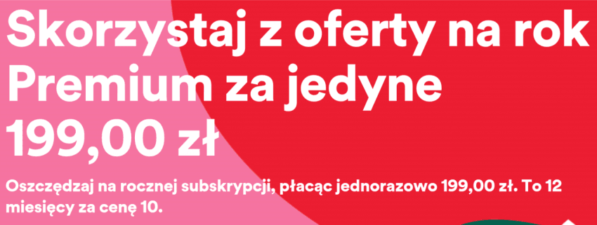 Tabletowo.pl Czasowa promocja na Spotify: odblokuj konto Premium na 12 miesięcy, zapłać jak za 10 Promocje