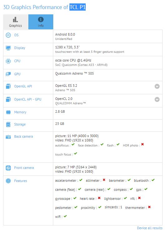 Tabletowo.pl TCL szykuje smartfon z 3,3-calowym wyświetlaczem i Androidem 8.0 Oreo Chińskie Nowości