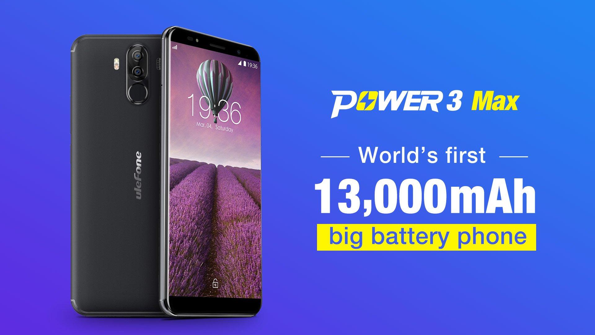 Tabletowo.pl Tyle jeszcze nie było - Ulefone Power 3 Max będzie miał baterię o pojemności aż 13000 mAh! Android Chińskie Smartfony