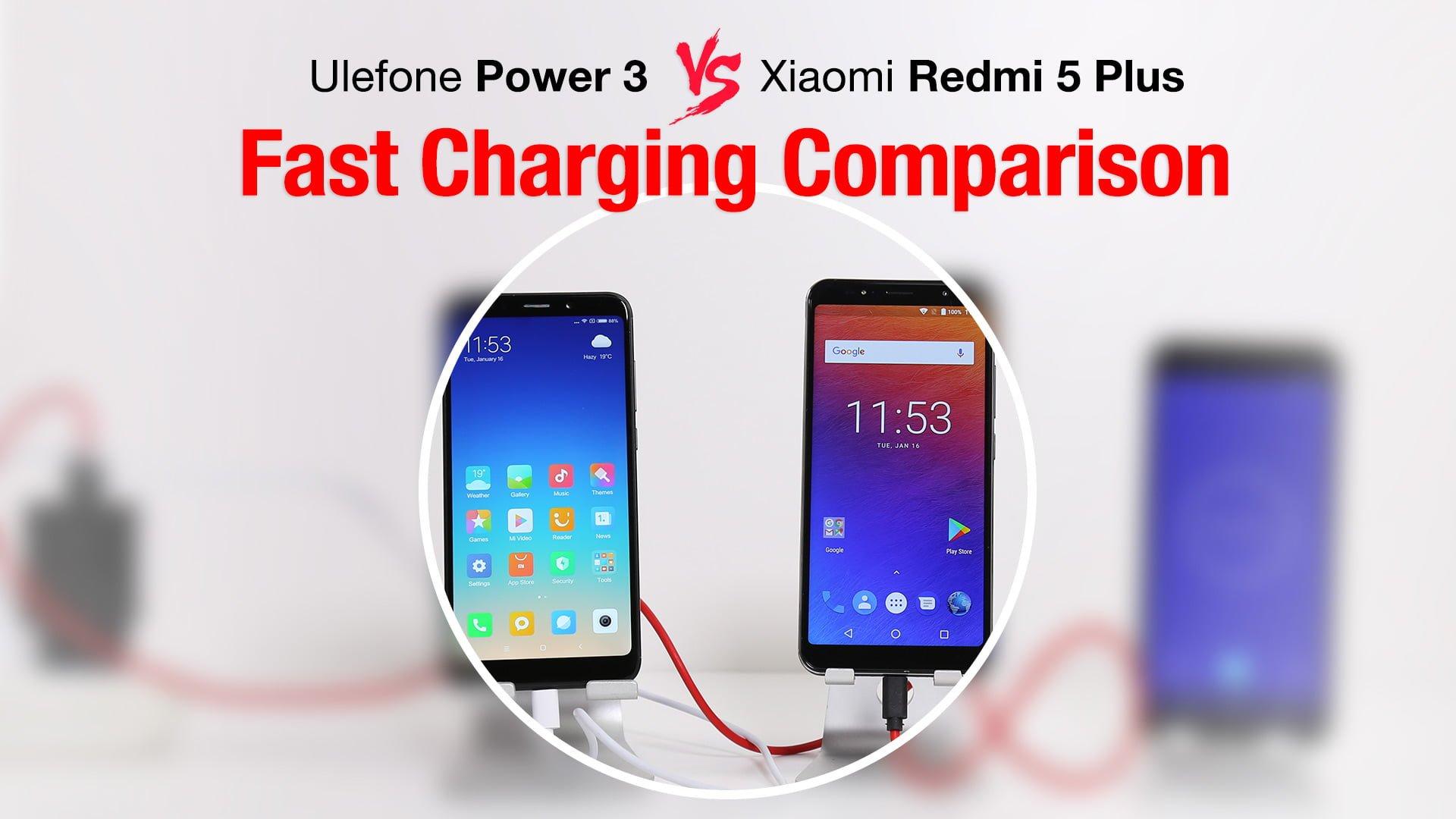 Tabletowo.pl Porównanie szybkiego ładowania Ulefone Power 3 i Xiaomi Redmi 5 Plus Chińskie Smartfony Xiaomi