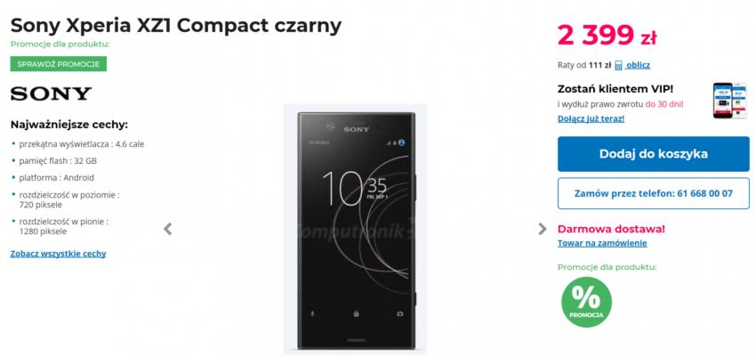 Sony Xperia XZ1 Compact już w sklepach. 4,6 cala za grubo ponad 2 tysiące złotych 18