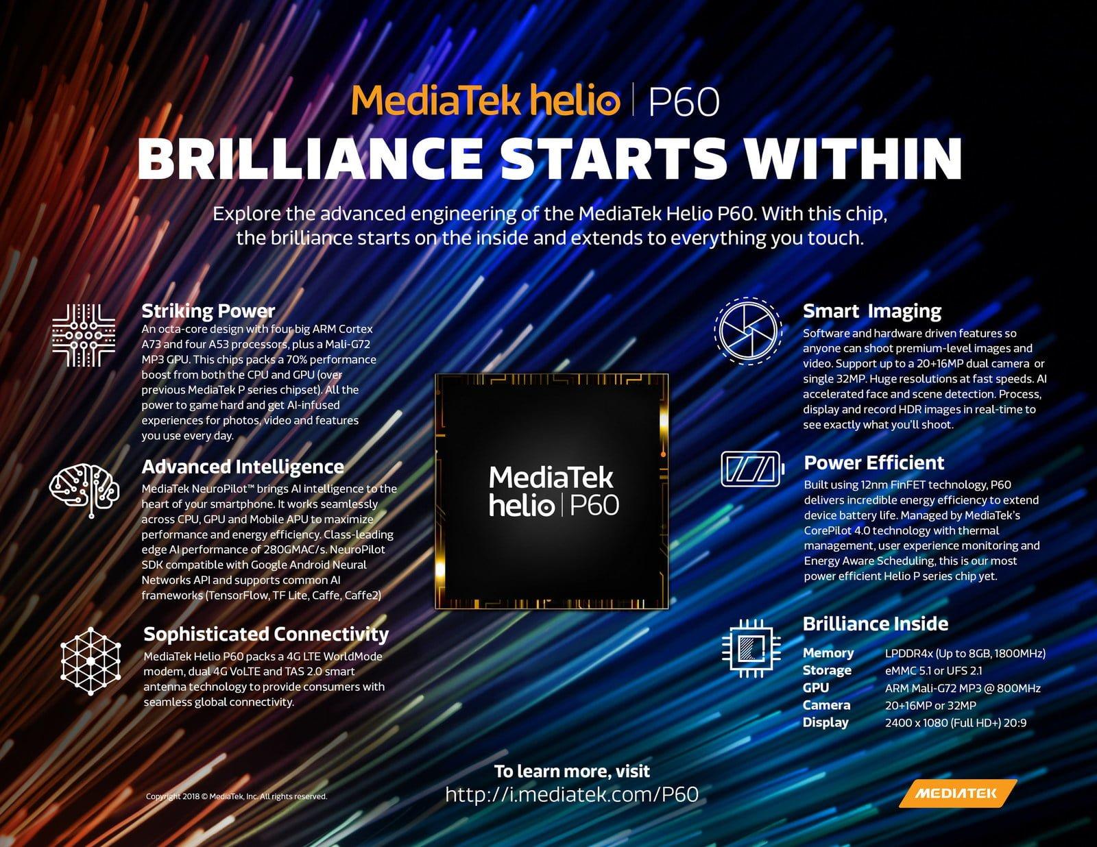 Tabletowo.pl MediaTek Helio P60 to pierwszy procesor tego producenta z platformą sztucznej inteligencji (SI) MediaTek MWC 2018 Nowości Smartfony