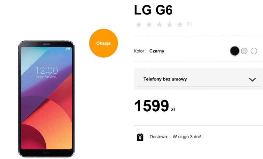 Tabletowo.pl Promocja: LG G6 za 1599 złotych w sklepie Orange. Chyba jeszcze nie było tak tanio LG Promocje Smartfony