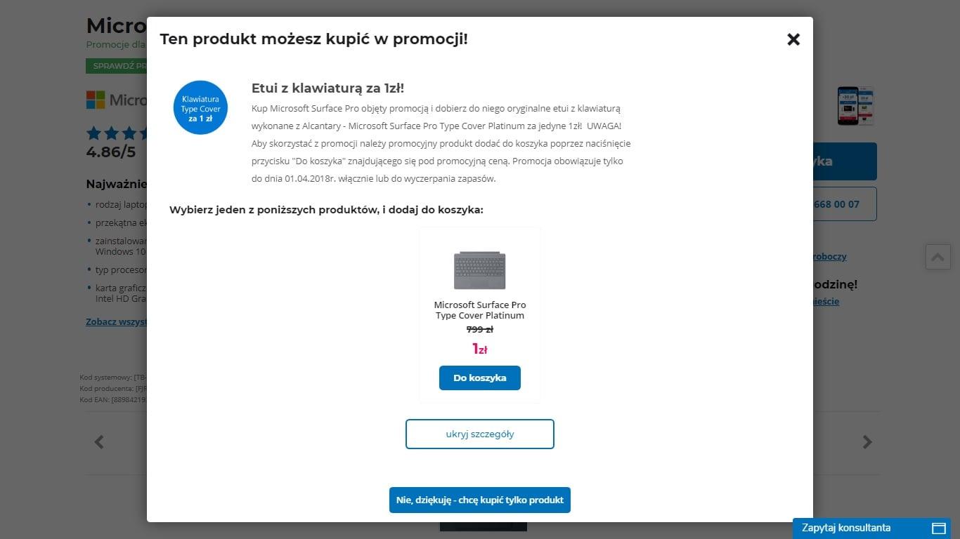 Tabletowo.pl Promocja: etui z klawiaturą za złotówkę przy zakupie dwóch konfiguracji Microsoft Surface Pro Hybrydy Microsoft Promocje Windows