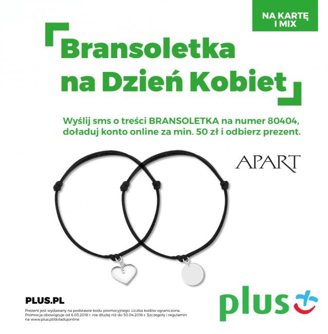 Tabletowo.pl Promocja: Doładuj konto w Plusie za 50 złotych, a dostaniesz bransoletkę na Dzień Kobiet GSM Promocje