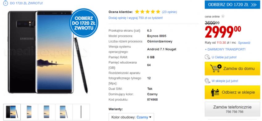 Tabletowo.pl Zacna cena, jak na smartfon z takimi możliwościami. Samsung Galaxy Note 8 za mniej niż 3000 złotych Samsung Smartfony