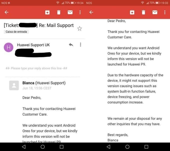 Tabletowo.pl Dział wsparcia Huawei tłumaczy, dlaczego Huawei P9 nie dostanie aktualizacji do Androida Oreo Aktualizacje Android Huawei Smartfony