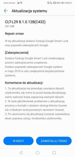 Tabletowo.pl P20 Pro dostaje nową aktualizację - wprowadza nowsze zabezpieczenia i Smart Lock Aktualizacje Android Huawei