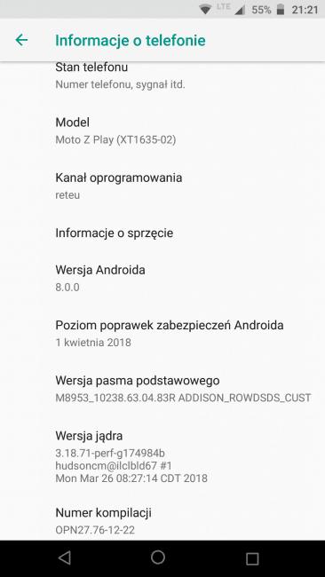 Tabletowo.pl Motorola Moto Z Play w Polsce dostaje Androida 8.0 Oreo. Nowy system, stare poprawki zabezpieczeń Aktualizacje Android Motorola Smartfony
