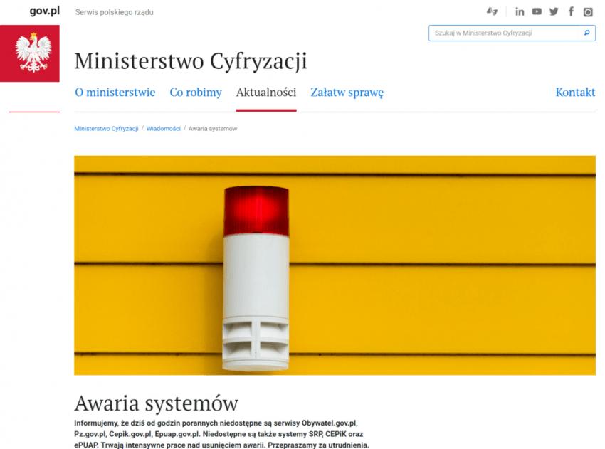 Tabletowo.pl Awaria systemów informatycznych SRP, CEPiK oraz ePUAP. E-usługi w kraju nie działają [AKTUALIZACJA] Wydarzenia