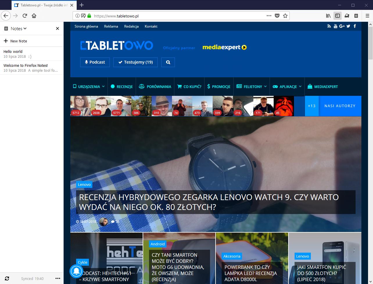 Tabletowo.pl Notes by Firefox to słaba aplikacja do sporządzania notatek, ale chętnie bym z niej korzystał Aplikacje Nowości Prześwietlenie Aplikacji Recenzje Aplikacji/Gier
