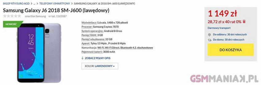 Tabletowo.pl Wycieka polska cena Samsunga Galaxy J6 (2018). Raczej nie porywa, ale to nic - smartfon i tak pewnie dobrze się sprzeda Nowości Plotki / Przecieki Samsung Smartfony