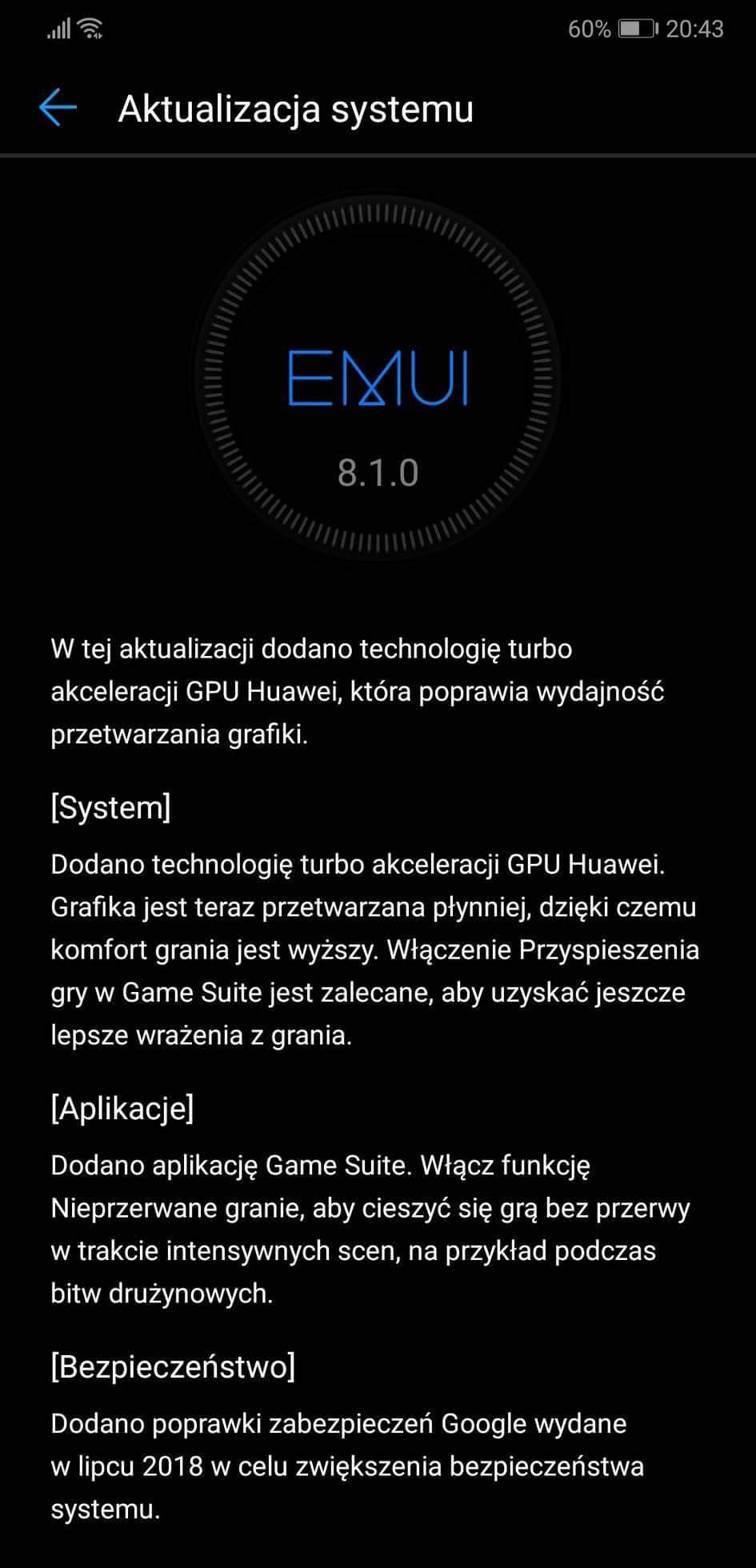 Huawei P20 Pro jako pierwszy w Polsce dostaje aktualizację GPU Turbo 21