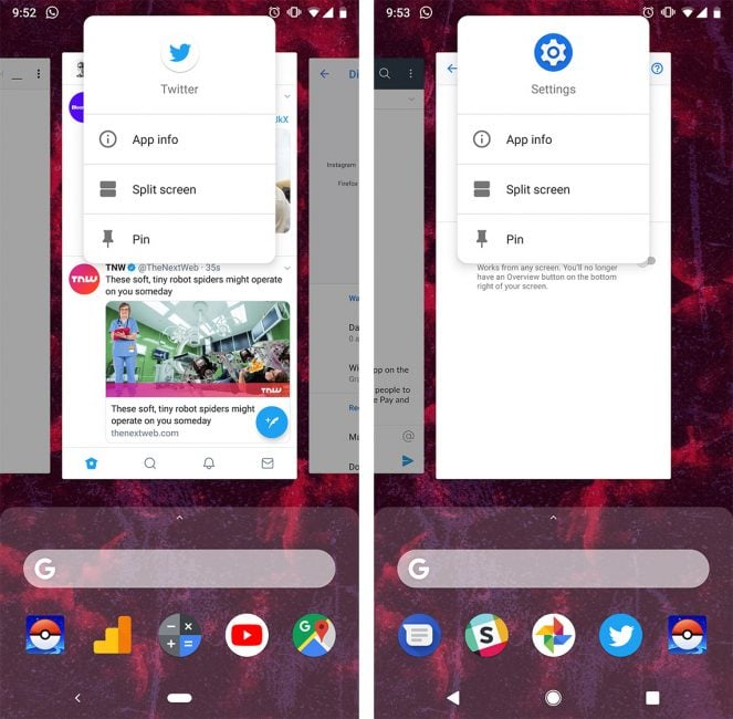Tabletowo.pl Aktywowanie trybu podzielonego ekranu na Pixelach z Androidem 9.0 Pie to nie taka prosta sprawa Aktualizacje Android Oprogramowanie Smartfony