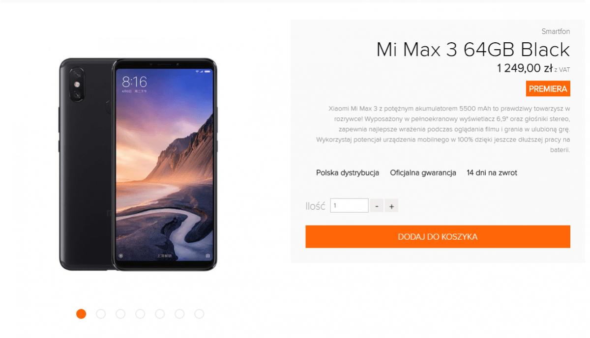 Tabletowo.pl Już jest: Xiaomi Mi Max 3 dostępny w polskiej dystrybucji Android Nowości Smartfony Xiaomi