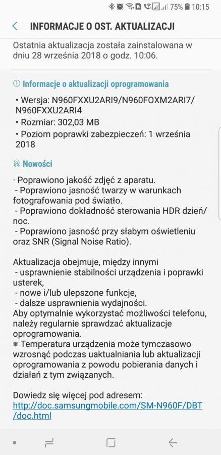 Samsung Galaxy Note 9 z aktualizacją systemu. Wśród nowości wrześniowe poprawki bezpieczeństwa i usprawnienia aparatu 19
